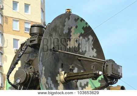 KIEV, UKRAINE - September 23, 2015:Old Soviet air-defense radar in the Kiev city
