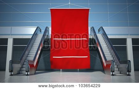 Blank Advertising Flag And Moving Escalator Stairs
