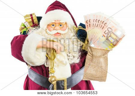 Model Of Santa Claus With Ringing Bell Gifts And Money