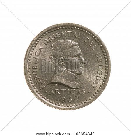 Twenty-five Coin Centesimo Uruguay Isolated On A White Background. Top View.