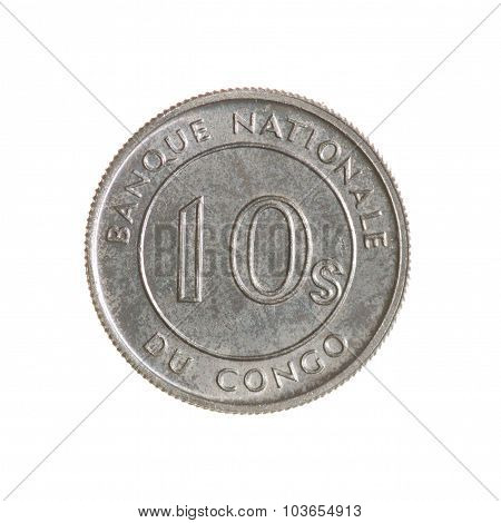 Ten Seng Congo Coin Isolated On White Background. Top View.