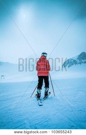 skier on snow hill Solden Austria extreme winter sport