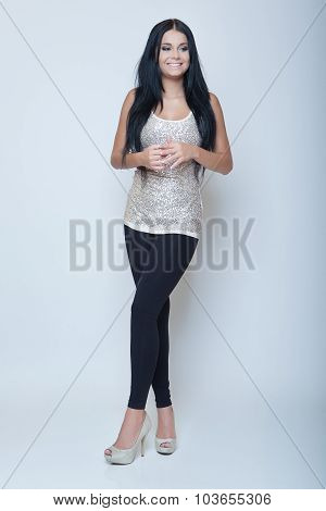 Attractive Brunette Young Slim Girl Fashion Style Long Leg And Heels