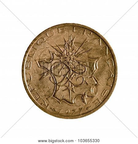 Ten Francs Coin Of France Isolated On A White Background. Top View.