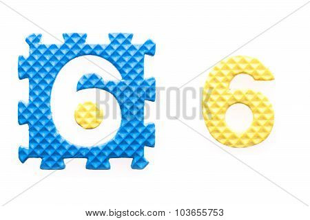 Colored Puzzles With Number 6 For Children
