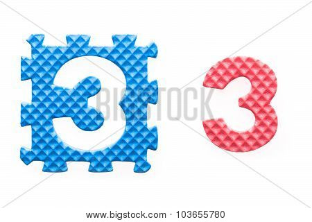 Colored Puzzles With Number 3 For Children