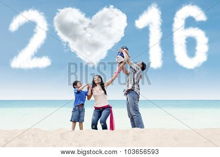 Playful Asian Family Celebrate New Year Of 2016
