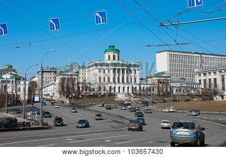 Moscow, Russia - 13.04.2015. The old mansion of the 18th century - the Pashkov House. Currently, the