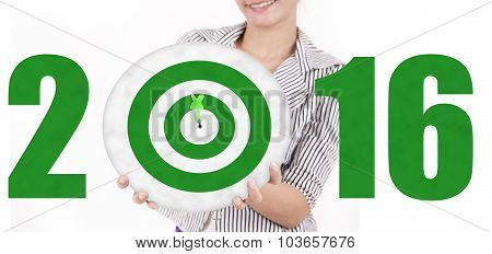 Woman Showing Dartboard With Numbers 2016