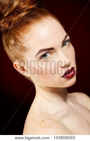 Professional colorful makeup for red-haired models