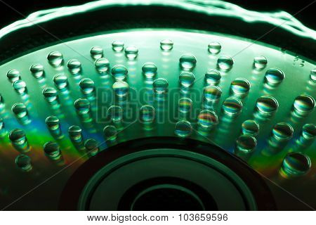 Abstract Music Background, Water Drops On Cd/dvd