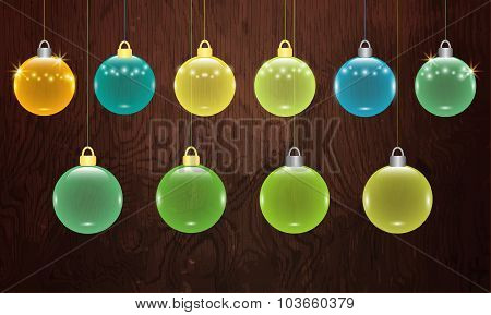 Transparent Christmas Balls Vector
