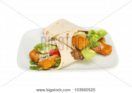 Fish Finger Wraps On Plate
