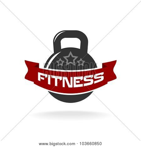 Gym Fitness Weight Logo Template With Ribbon For Text