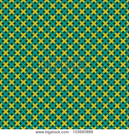 Weave Seamless Pattern. Green And Yellow Flat Colors Diagonal Squares Texture.