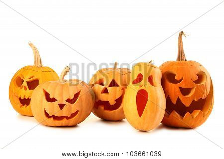 Halloween Pumpkins Isolated On A White