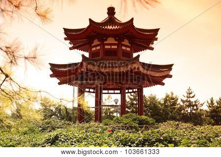 Pavilion House At Giant Wild Goose Pagoda, China, Xian