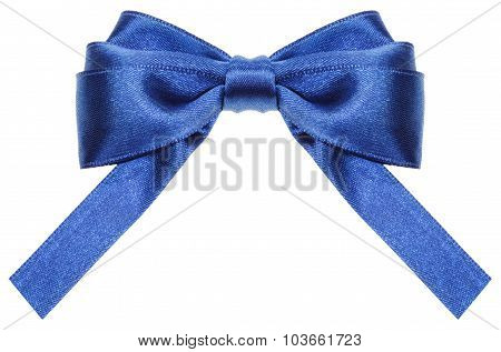 Symmetric Blue Ribbon Bow With Square Cut Ends