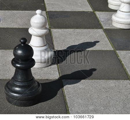 Black and white chess pawns