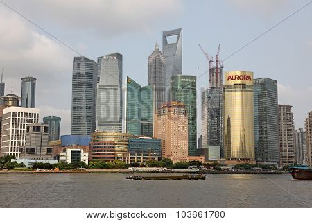 Shanghai Pudong Skyline View From The Bund