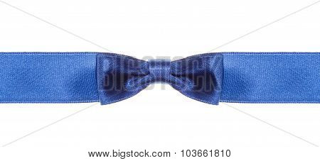Symmetrical Blue Bow Knot On Wide Silk Ribbon