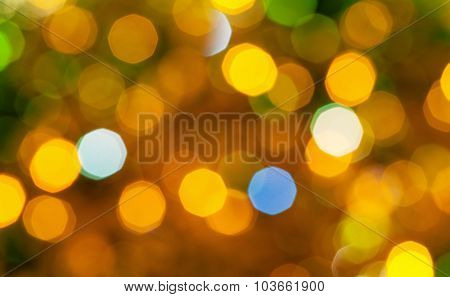 Brown Green Blurred Shimmering Christmas Lights