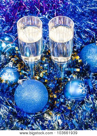 Above View Of Goblets In Blue Xmas Decorations