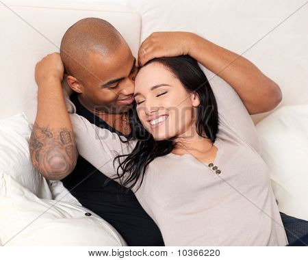Attractive Smiling Couple Embracing