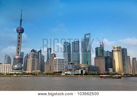 Shanghai - June 15: Shanghai Pudong Skyline View From The Bund -