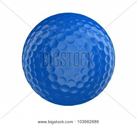 Blue golf ball 3D render isolated on a white background