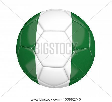 Football, also known as a soccer ball, with the national flag colors of Nigeria