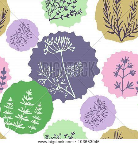 Seamless vintage pattern hand drawn herbs