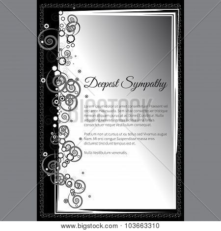 Vector Deepest Sympathy Card With Elegant Abstract Floral Motif