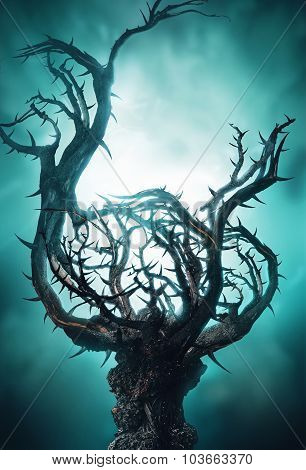 Mystic Dark Tree With Thorns In Green Fog