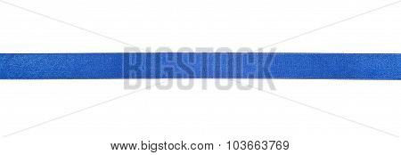 Narrow Blue Satin Ribbon Isolated On White