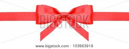 Red Ribbon And Symmetric Bow With Vertical Ends
