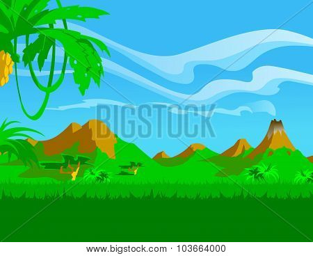 Tropical jungle. Background. Banner. Poster