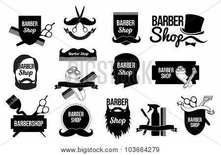 Set of Barber shop logos and designs.