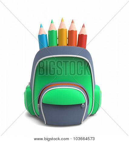School rucksack with pencils