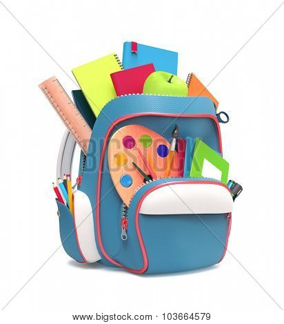 School rucksack with equipment