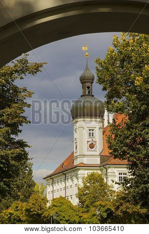 Townhall In Altotting, Bavaria, View Through Arched Door