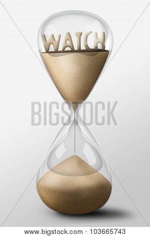 Hourglass With Watch Made Of Sand. Concept Of Time Passing