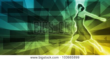Background with Dancing Girl on Sunray Pattern Abstract