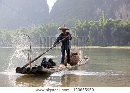 Yangshuo - June 18: Chinese Man Fishing With Cormorants Birds In Yangshuo, Guangxi Region, Tradition