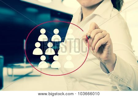 Hand pointing to businesswoman icon - HR recruitment and chosen concept.