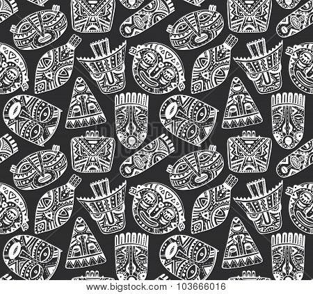 Seamless Vector Pattern With Hand Drawn Fancy Masks In African Style