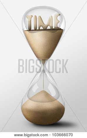 Hourglass With Time Made Of Sand. Concept Of Passing