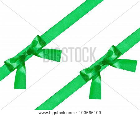 Two Big Green Bow Knot On Two Diagonal Satin Bands