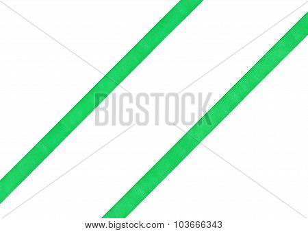 Two Diagonal Parallel Green Silk Bands Isolated