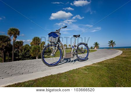 Rental bicycle tourism concept